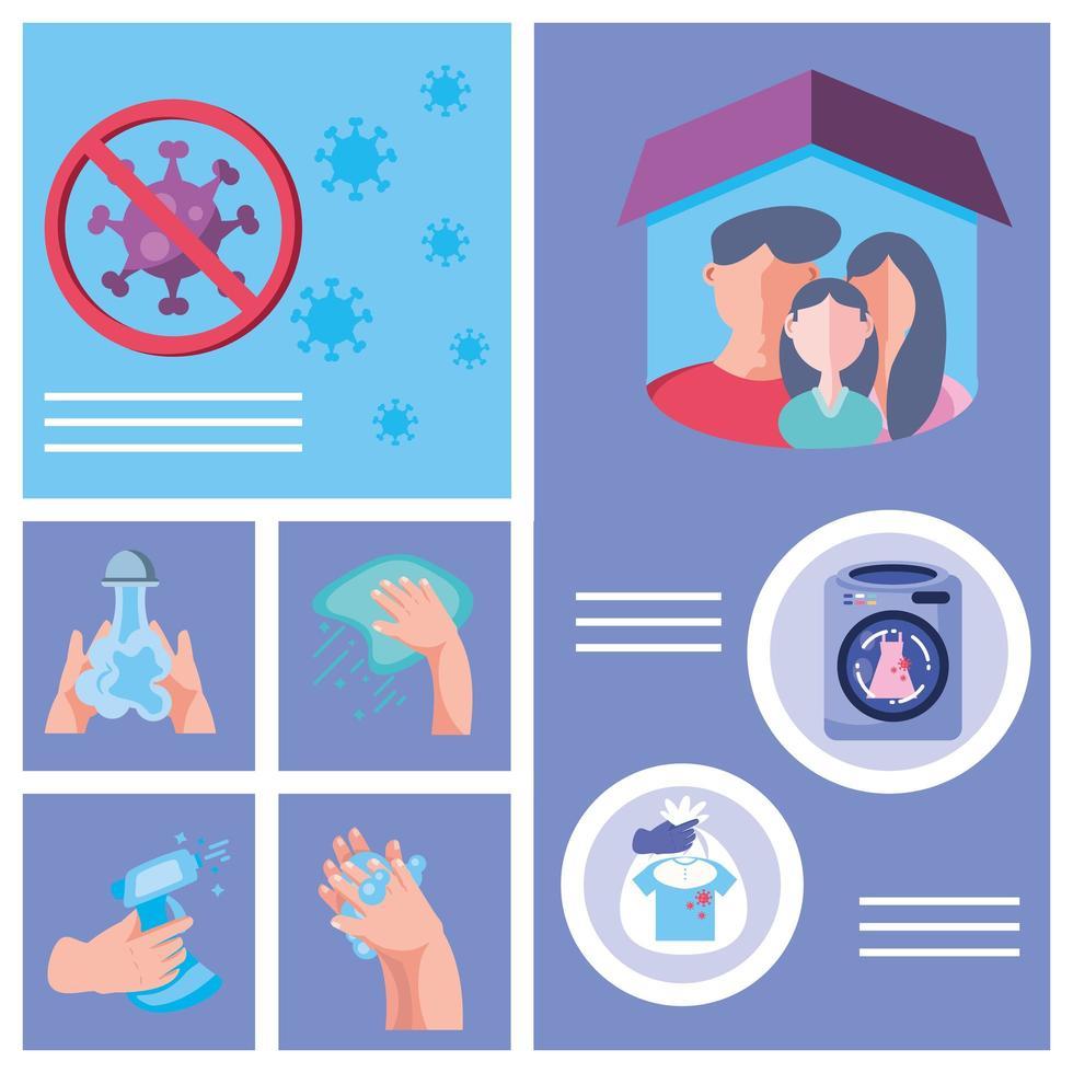 infografía de métodos de prevención de infecciones por coronavirus vector