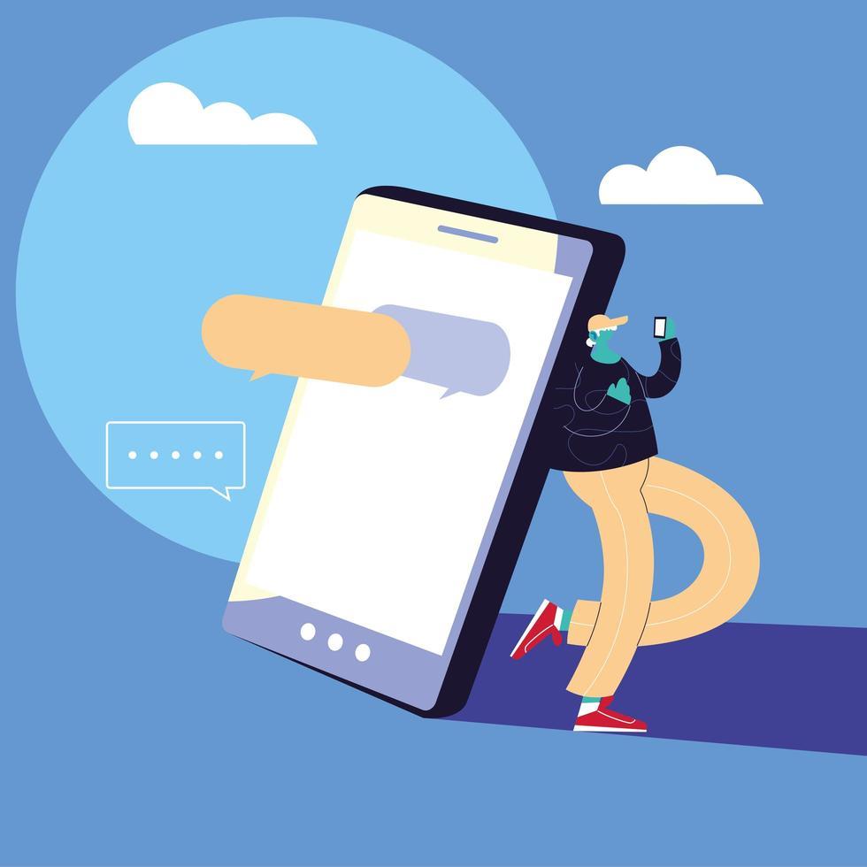 hombre con dispositivo de teléfono inteligente chateando vector