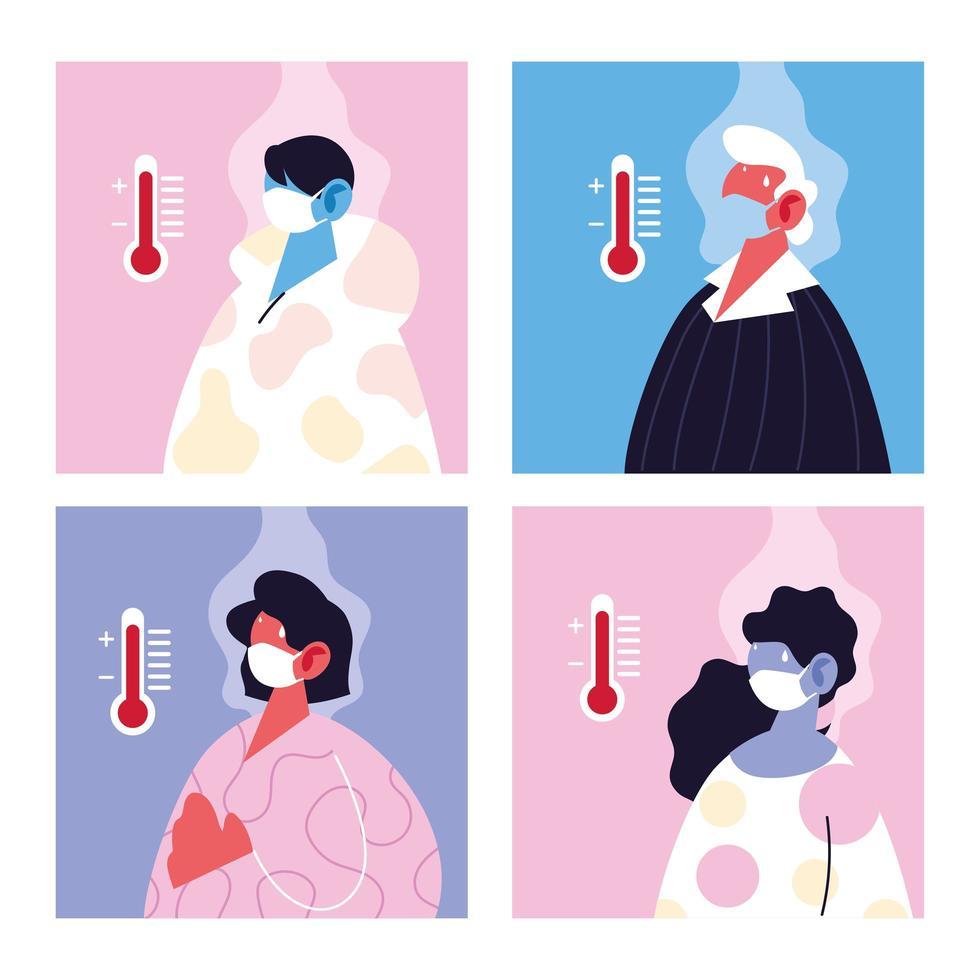 Conjunto de personas con máscara médica que sufren de alta temperatura vector