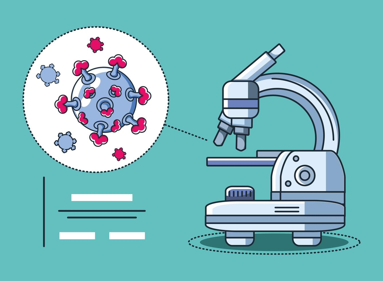 investigación de microscopio de laboratorio y coronavirus vector
