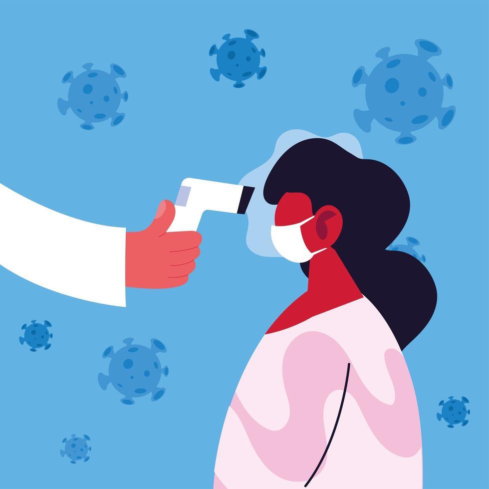 El médico mide la temperatura de una mujer que usa una máscara médica vector