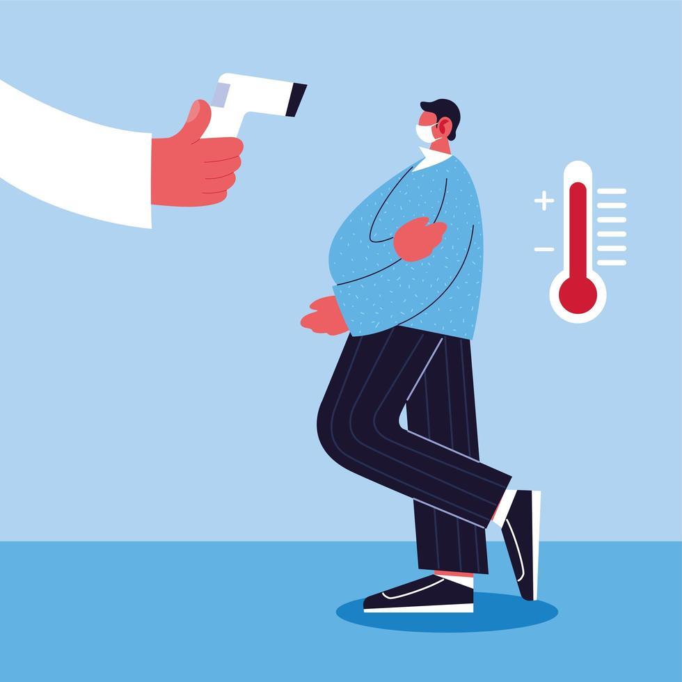 médico mide la temperatura de un hombre usando una máscara médica vector