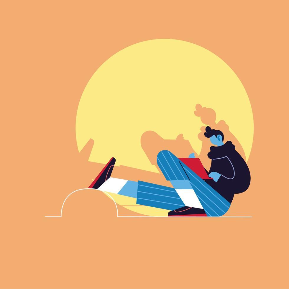 Hombre con laptop, concepto de redes sociales vector