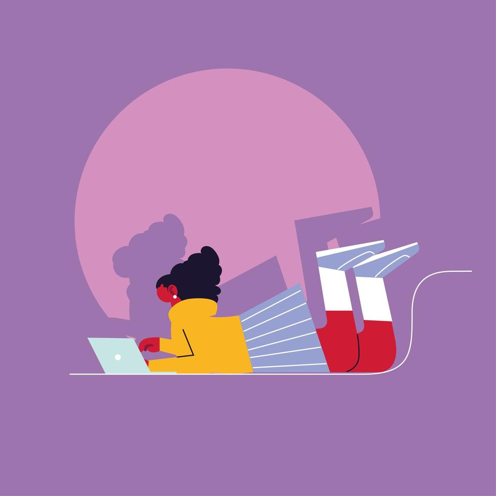 Mujer usando laptop, concepto de redes sociales vector