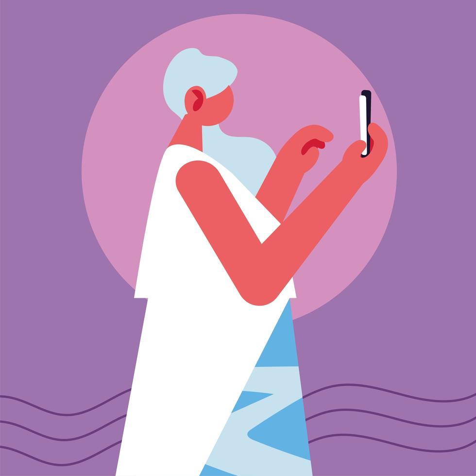 mujer con dispositivo de teléfono inteligente vector