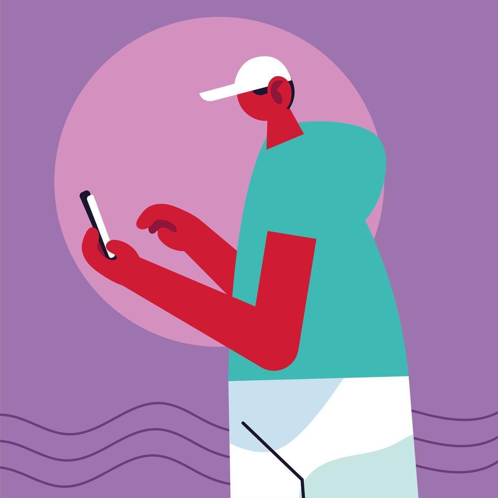 hombre usando teléfono inteligente usando las redes sociales vector