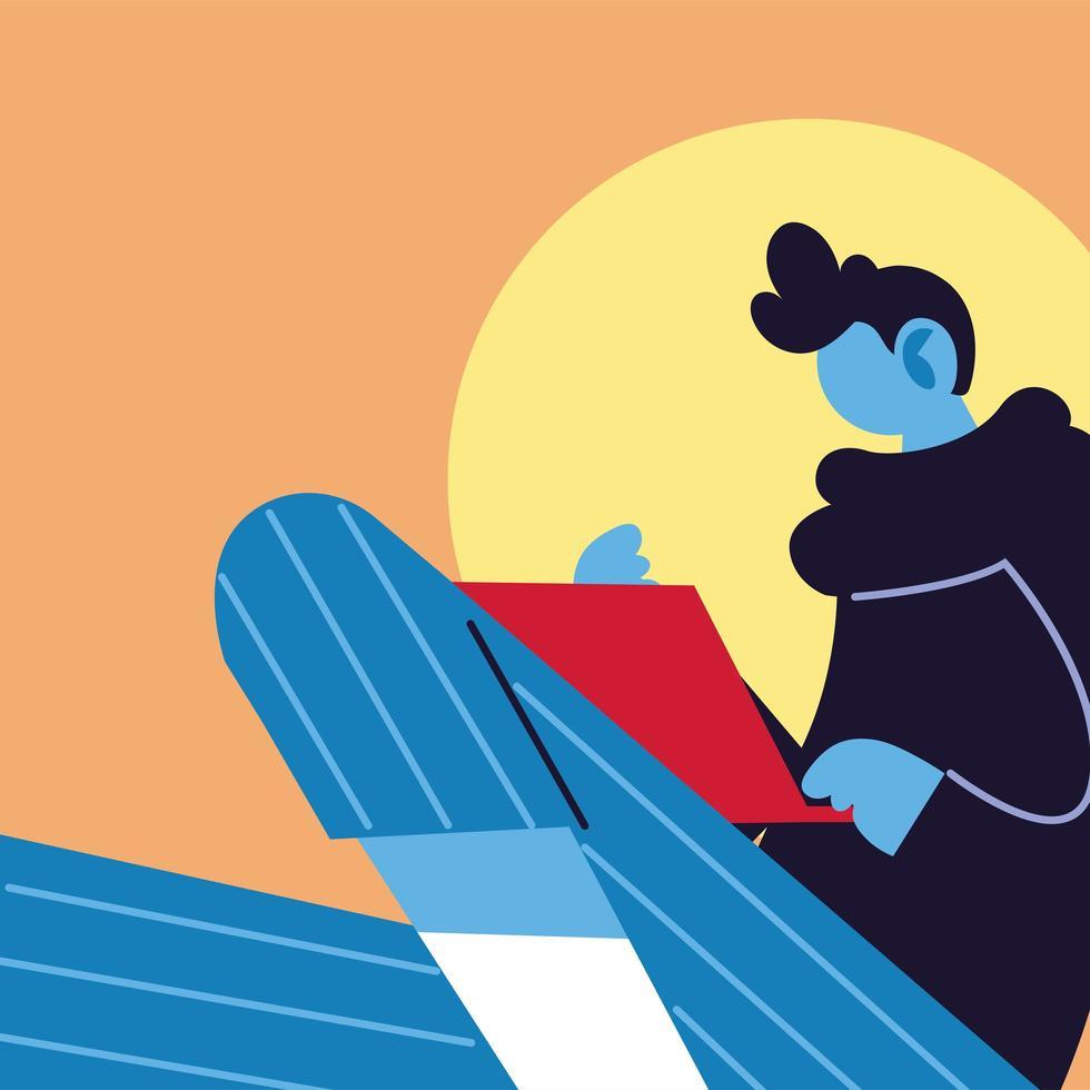 joven con laptop en las redes sociales vector