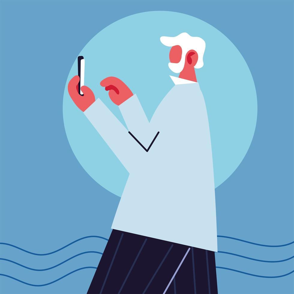 hombre con teléfono inteligente usando las redes sociales vector