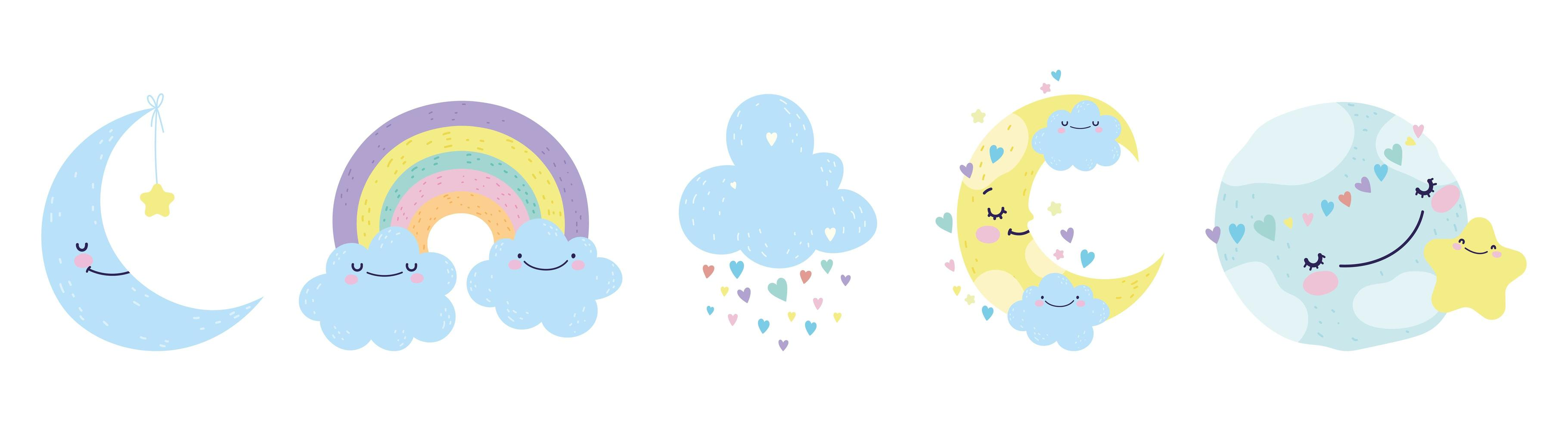 Cute little moons, clouds and a rainbow set vector