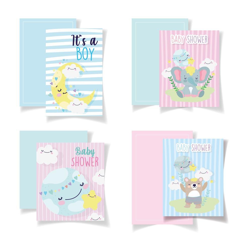 conjunto de plantilla de tarjetas de baby shower vector