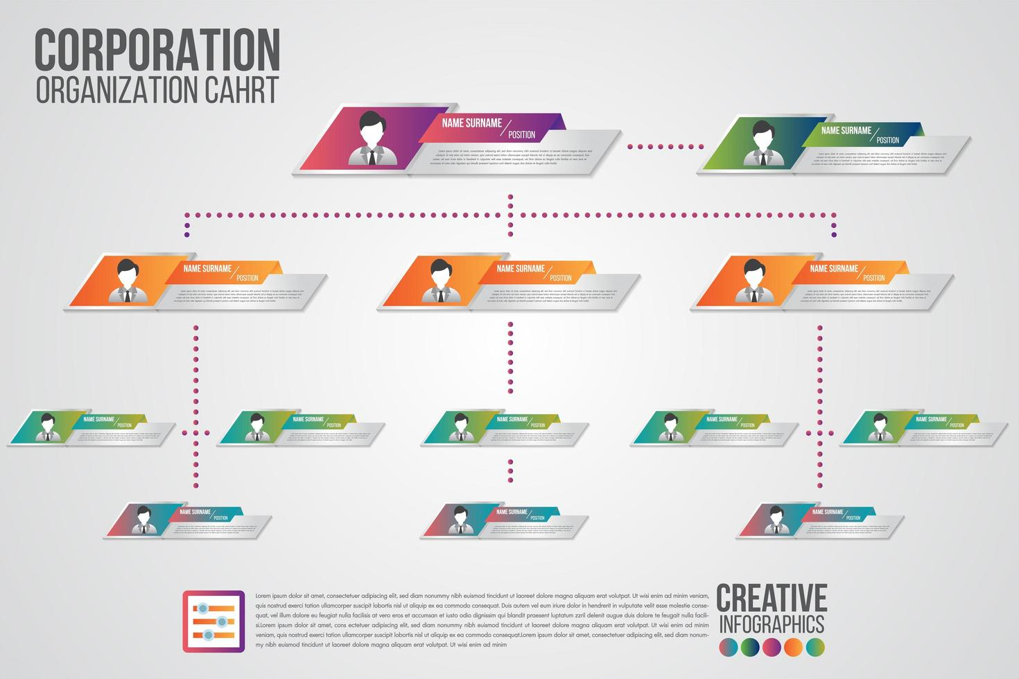 Corporate organization chart template with business people icons vector