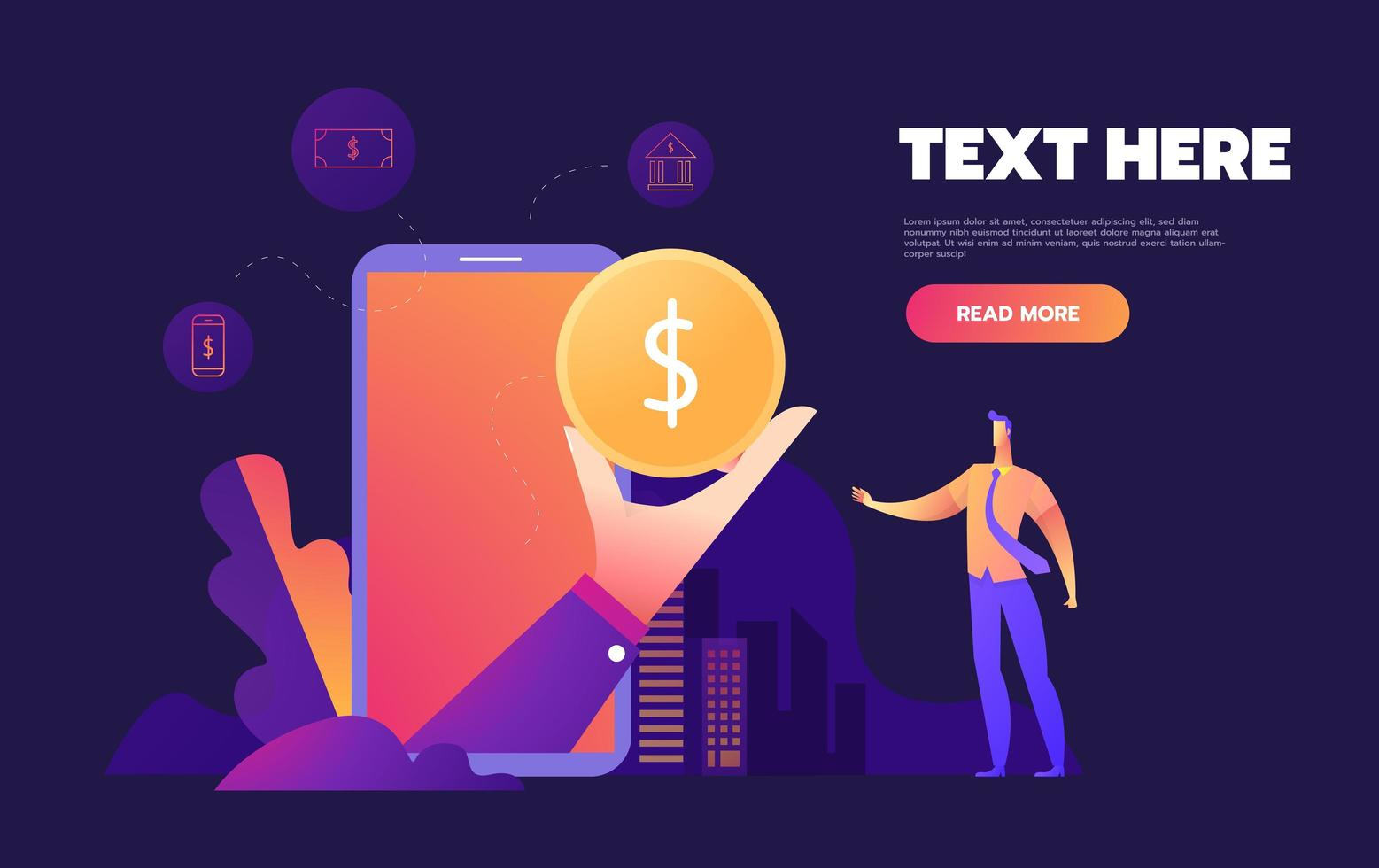 Mobile banking on smartphone concept vector