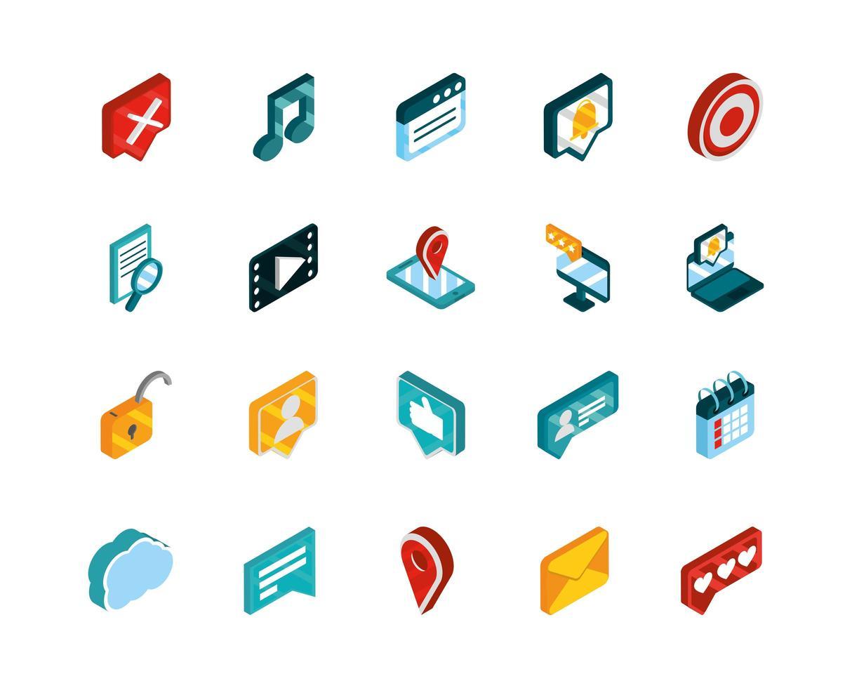 Social media isometric icon set pack vector