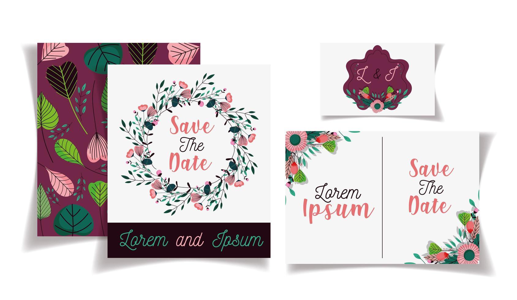 romantische bloemen bewaar de sjabloon set voor datumkaarten vector