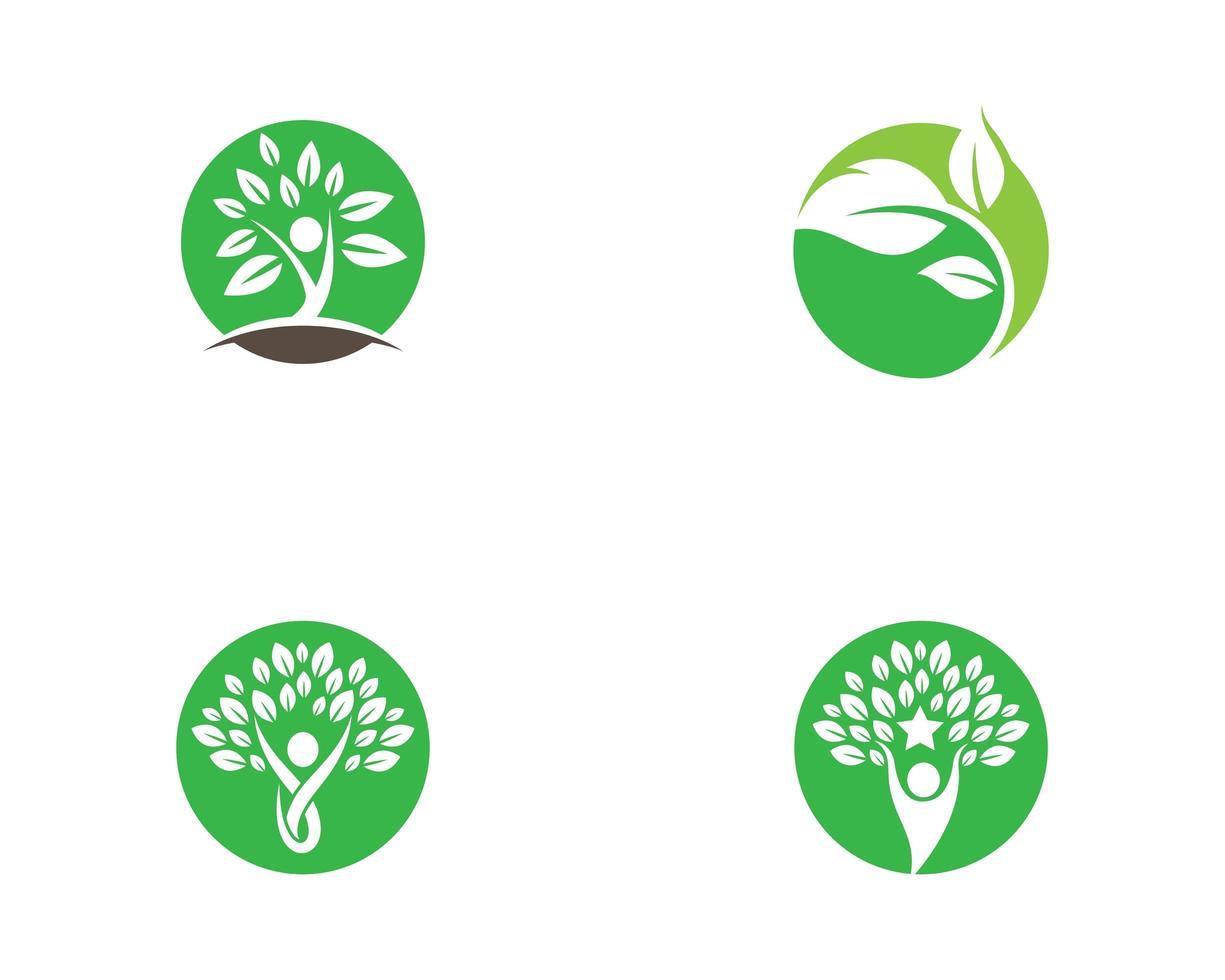 conjunto de ícones de logotipo de círculo de ecologia vetor