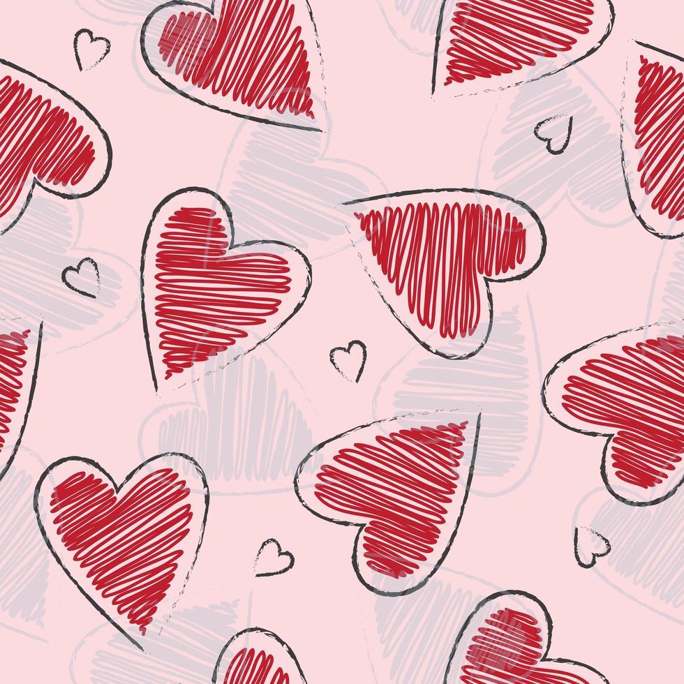 padrão de formato de coração desenhado a mão fofa vetor
