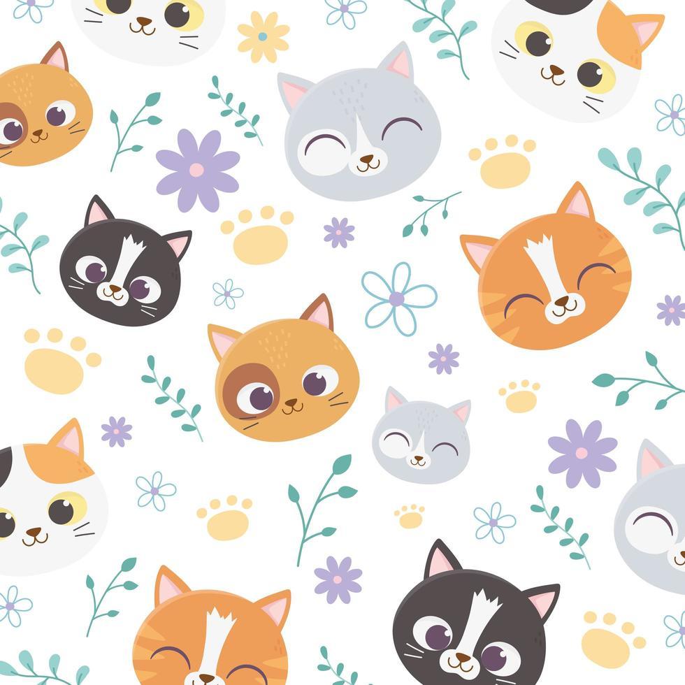 patrón de lindos gatos de dibujos animados con flores vector
