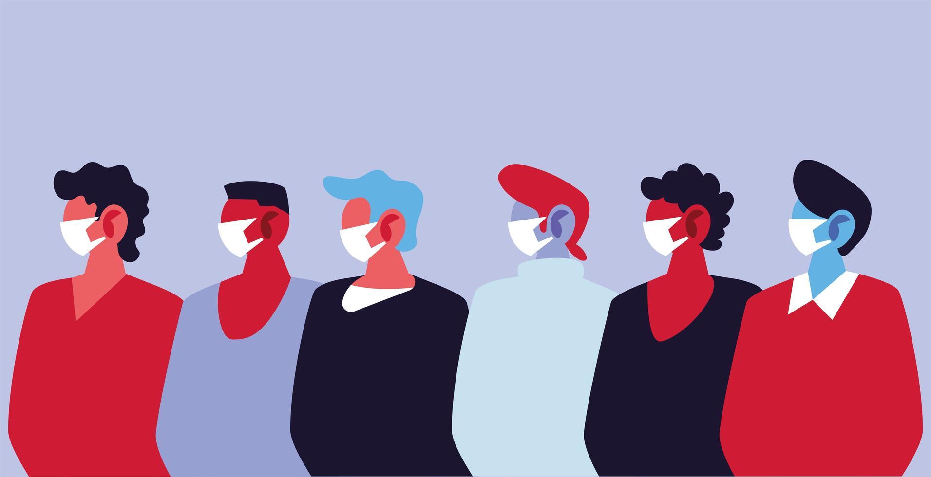 hommes utilisant des masques médicaux et se protégeant contre les oronavirus vecteur