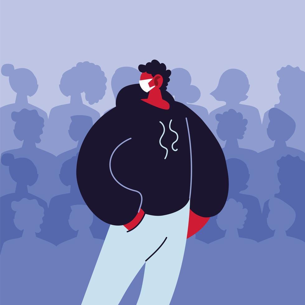 jovem usando máscara médica evitando infecção viral vetor