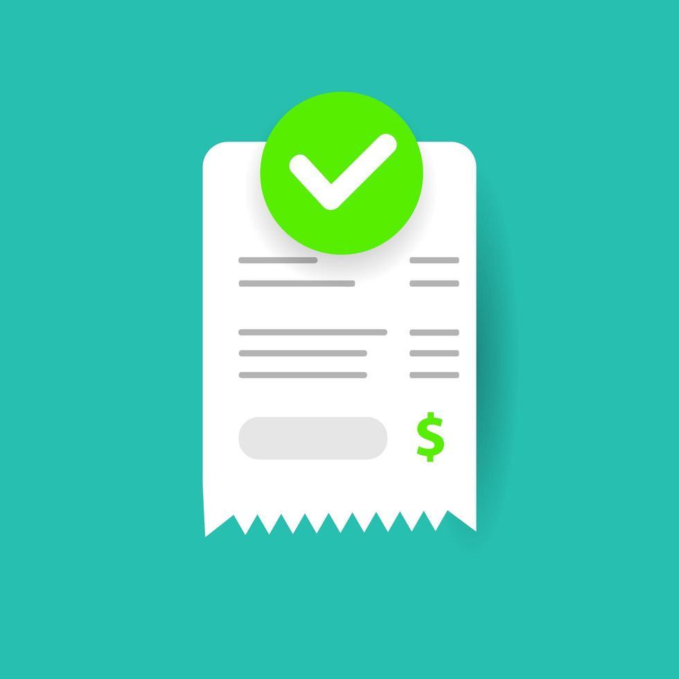 ícone de pagamento de contas de sucesso em papel com marca de seleção vetor