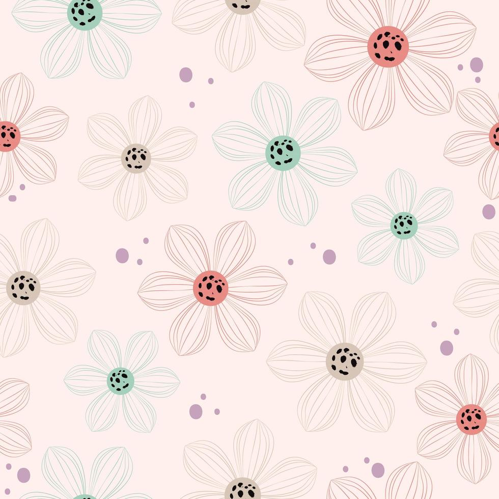 joli motif de fleurs transparentes vecteur