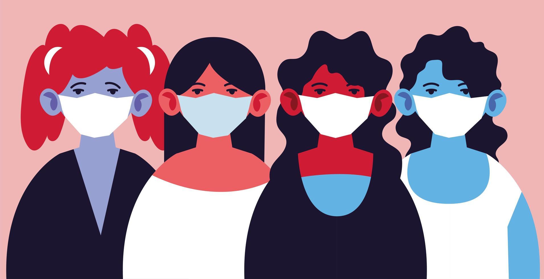 femmes portant des masques médicaux, se protégeant vecteur