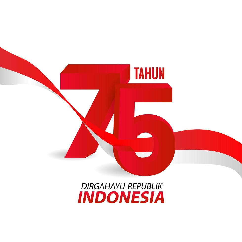 Indonesia Independence Day Greeting Card Ribbon Background vector