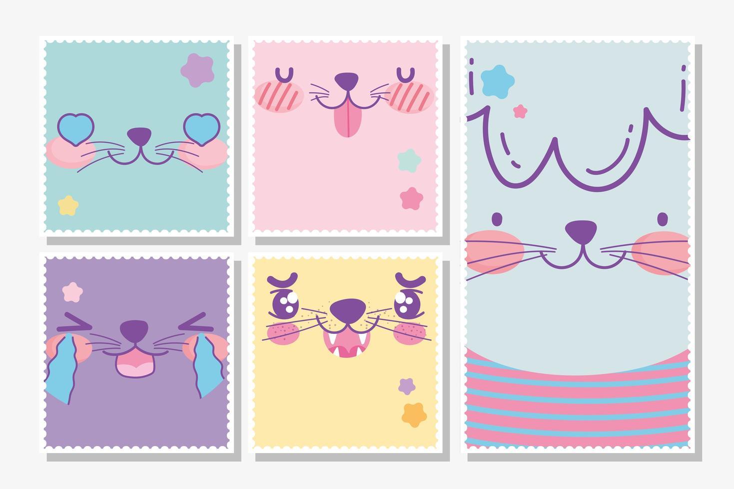paquete de cartas de caras de animales lindos kawaii vector
