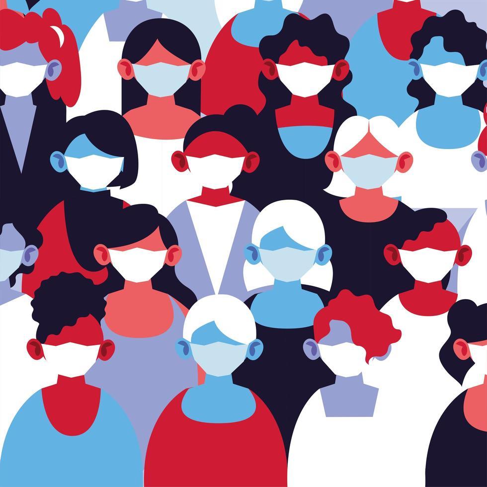 grupo de mulheres com máscaras médicas e se protegendo vetor