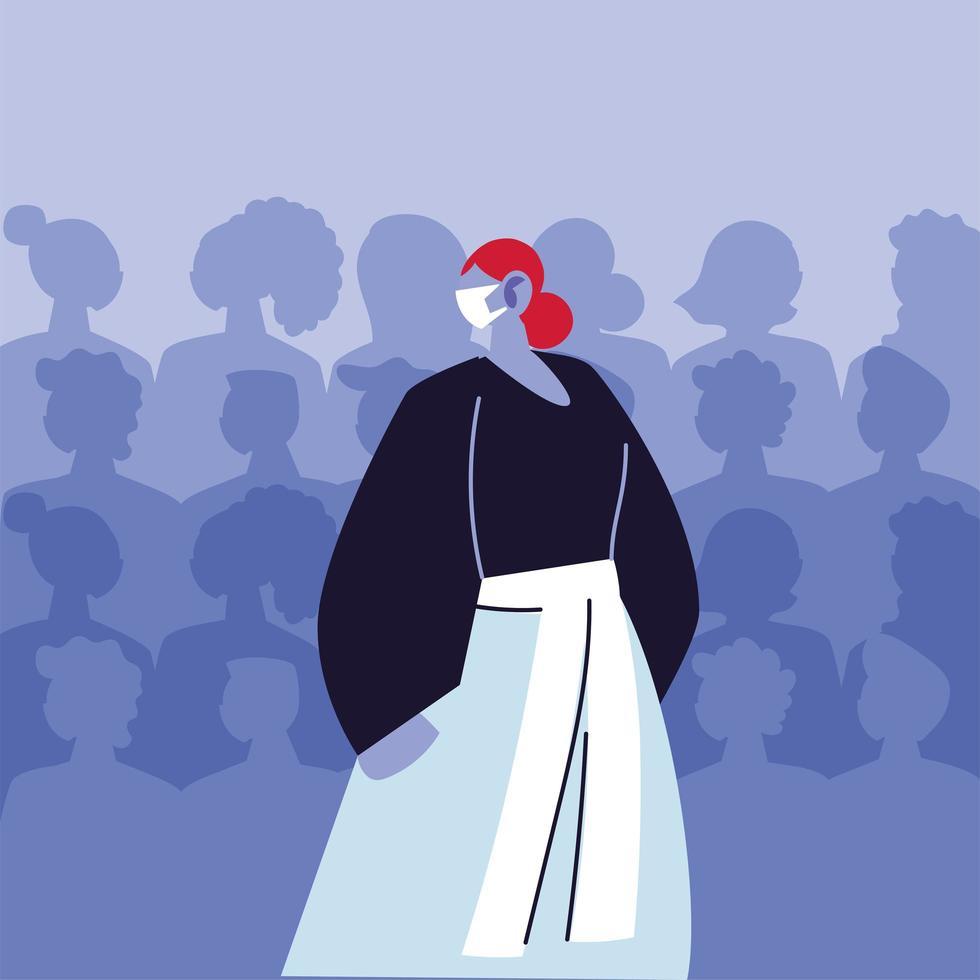 mujer joven, llevando, médico, máscara, evitar, infección viral vector