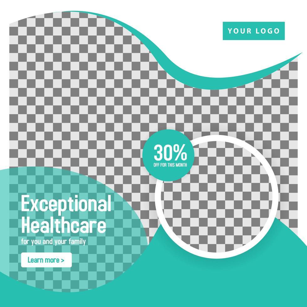 modèle de bannière de cercle de médias sociaux médicaux sarcelle vecteur