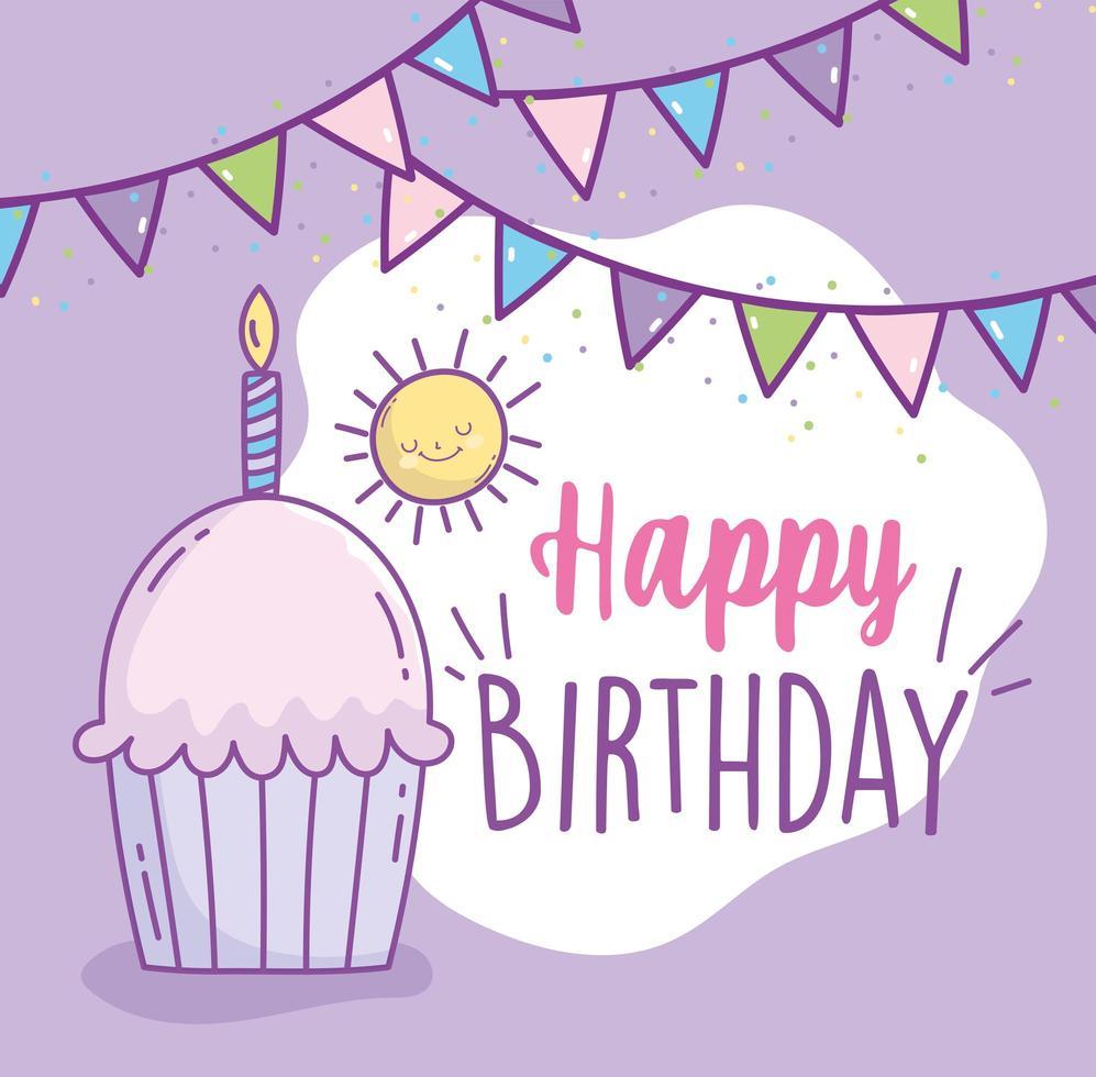 cupcake joyeux anniversaire avec bougie vecteur