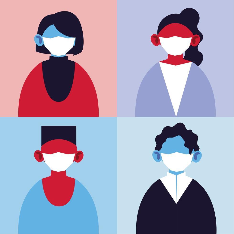 ensemble de personnes avec des masques médicaux, protection de l'infection pandémique par le coronavirus vecteur