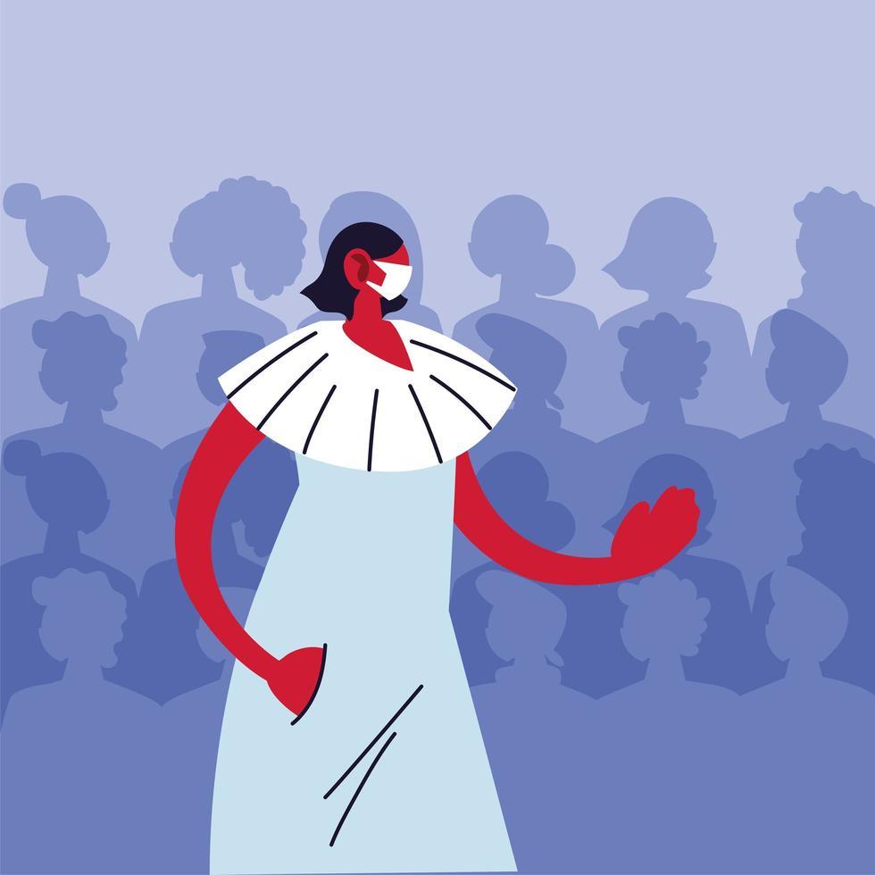 femme portant un masque médical évitant le virus vecteur