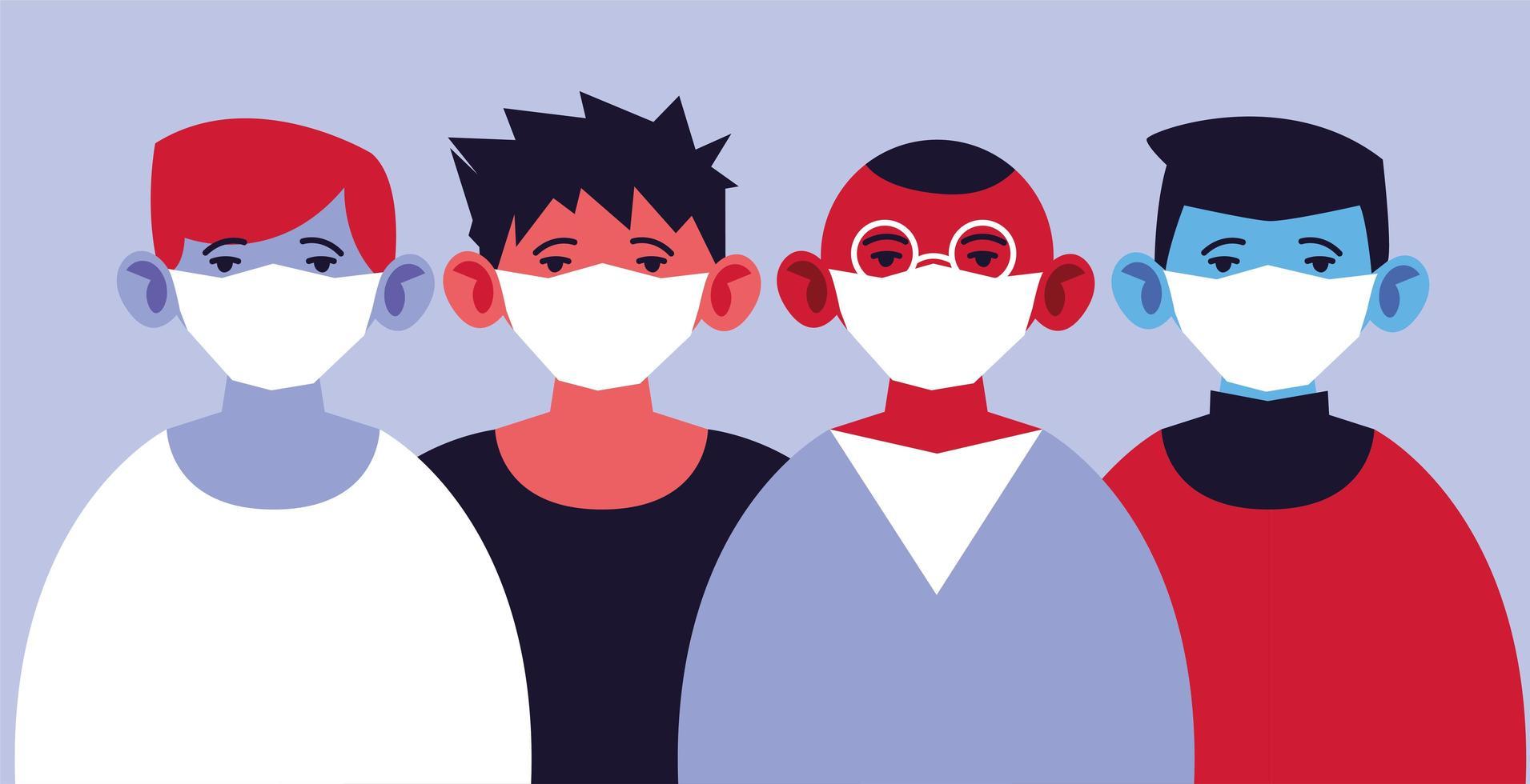 groupe d'hommes portant des masques médicaux, se protégeant vecteur