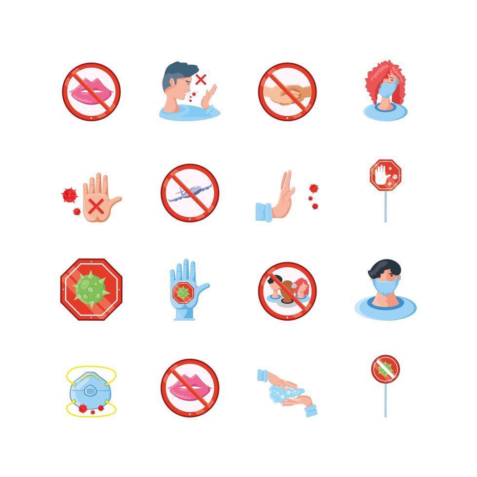 ensemble d & # 39; icônes de prévention des coronavirus vecteur