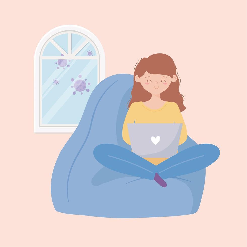 femme en quarantaine utilisant un ordinateur portable vecteur