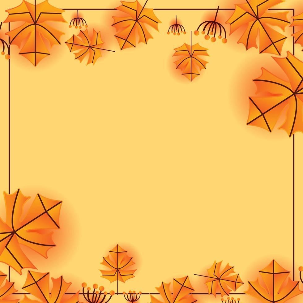 herfstblad grens en frame sjabloon vector