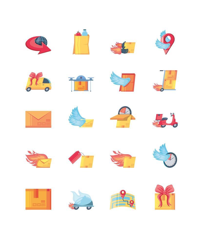 icônes définies sur la livraison rapide vecteur