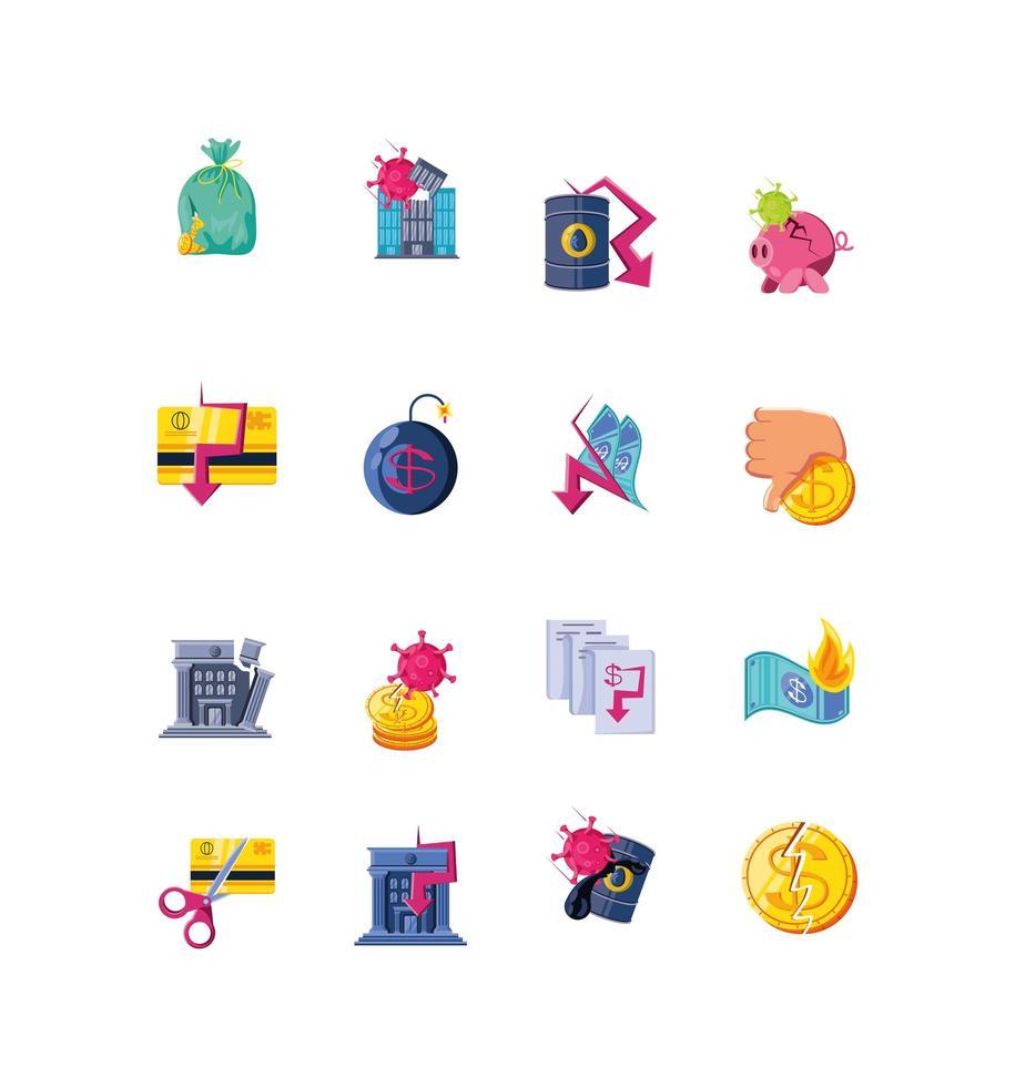iconen set van ingestorte economie vector