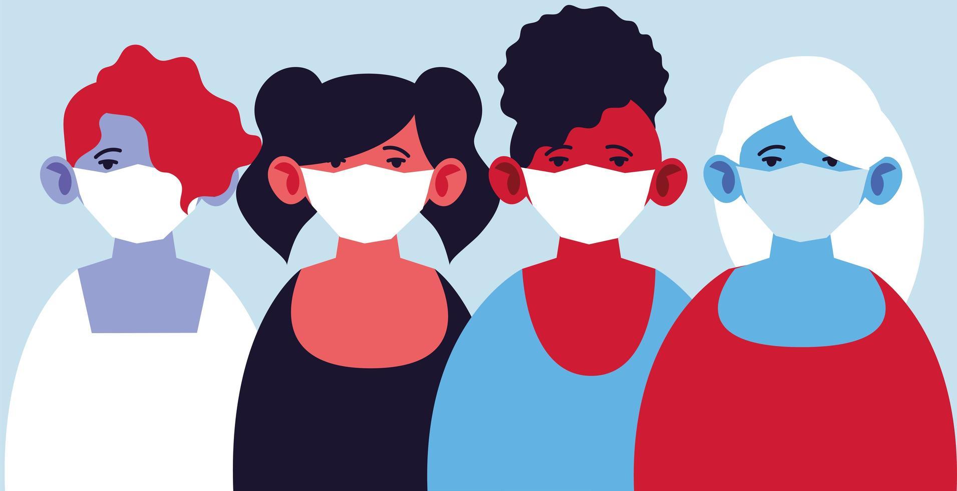femmes avec des masques médicaux, se protégeant contre la pandémie vecteur
