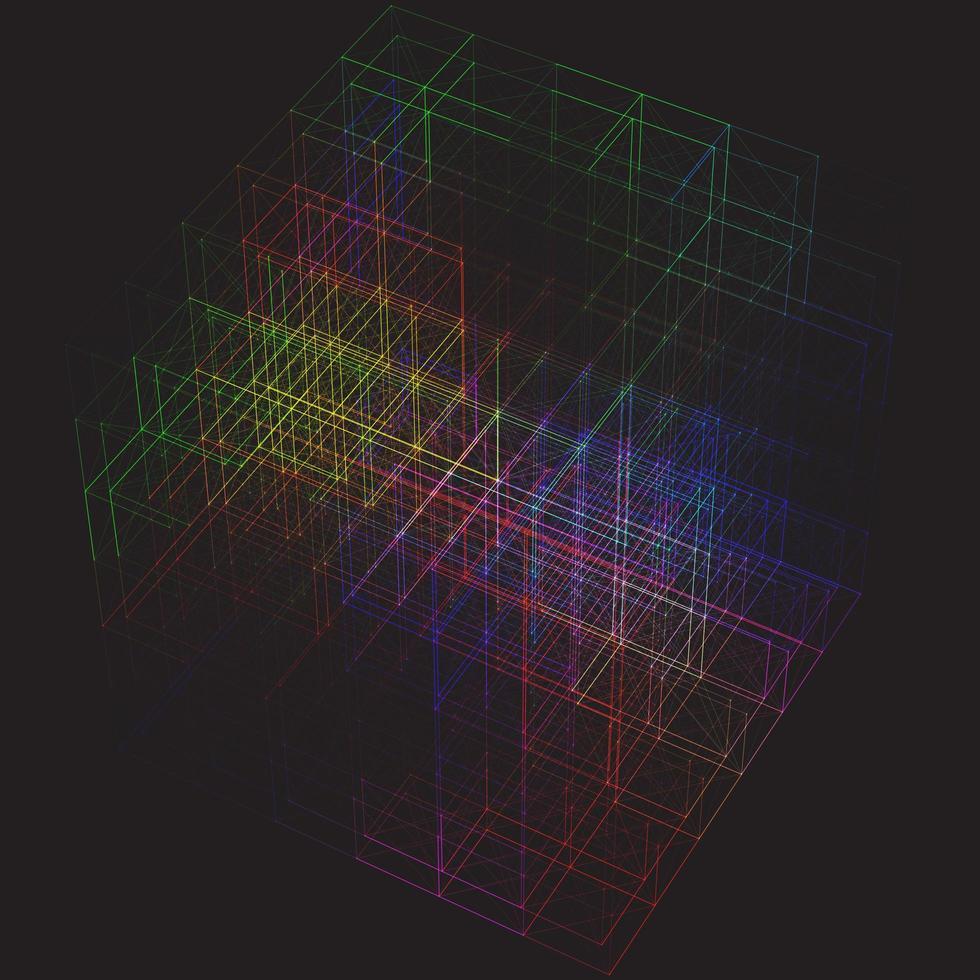cube de plexus coloré vecteur