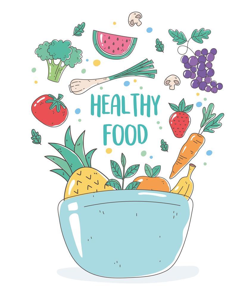 kom met gezond voedsel vector