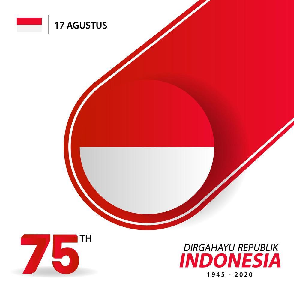 bannière et carte de voeux de la fête de lindépendance indonésie vecteur