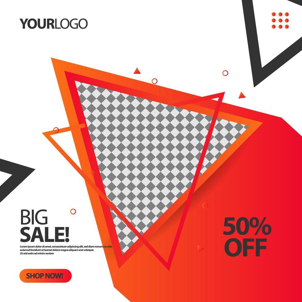 `` grande vente '' modèle de bannière de publication de médias sociaux triangle fluide vecteur