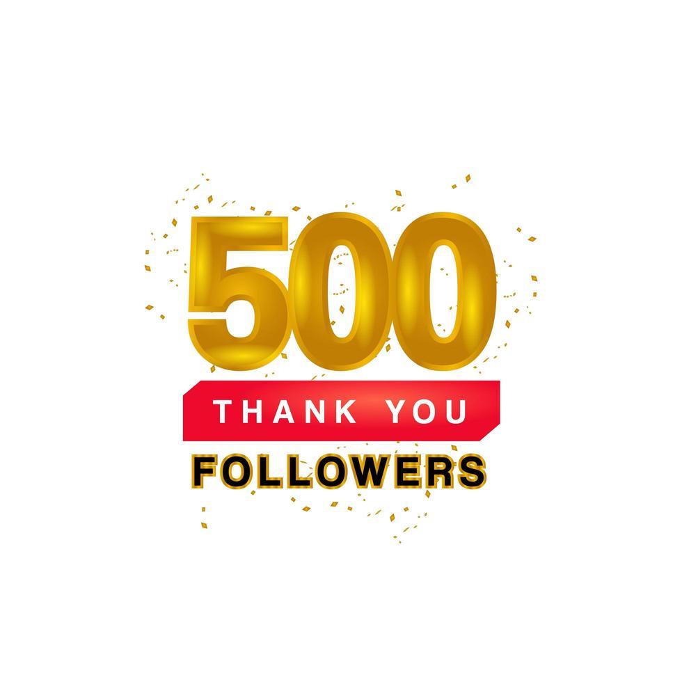 Modèle de bannière `` merci '' 500 abonnés sur blanc vecteur