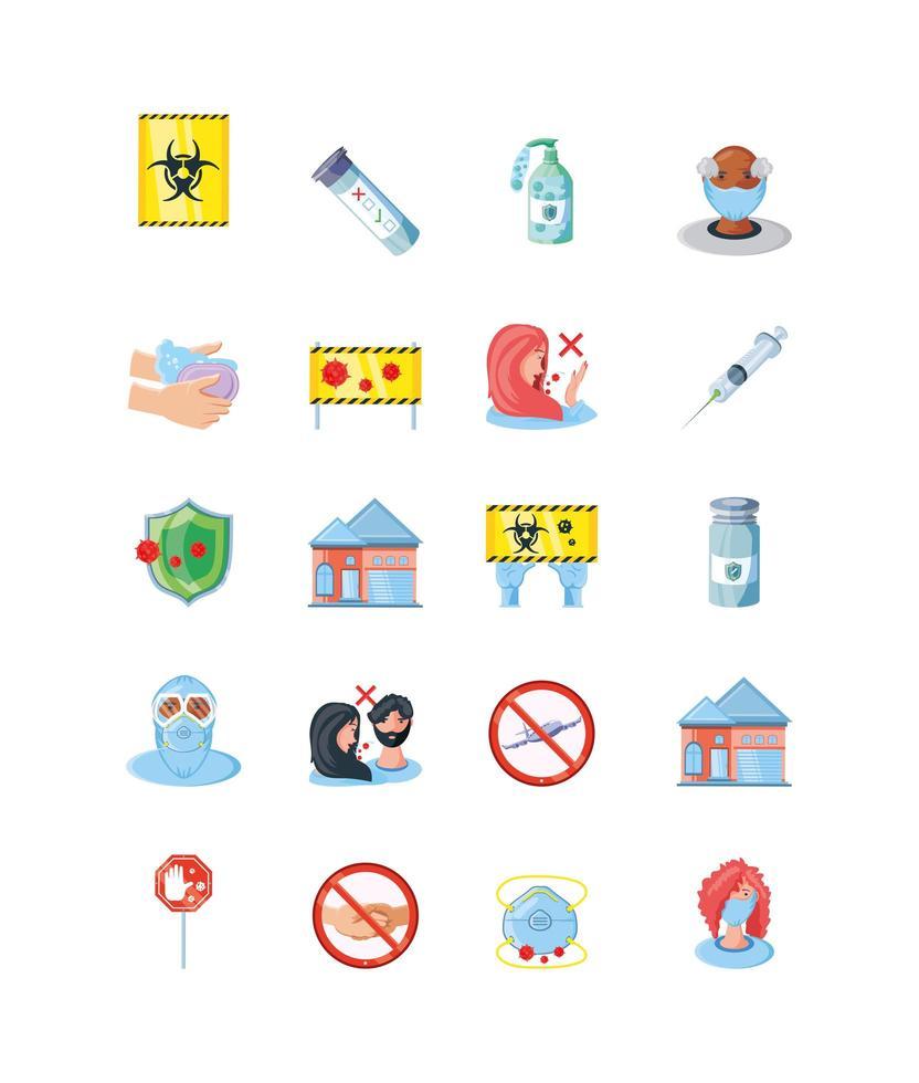 verzameling iconen van coronaviruspreventie vector