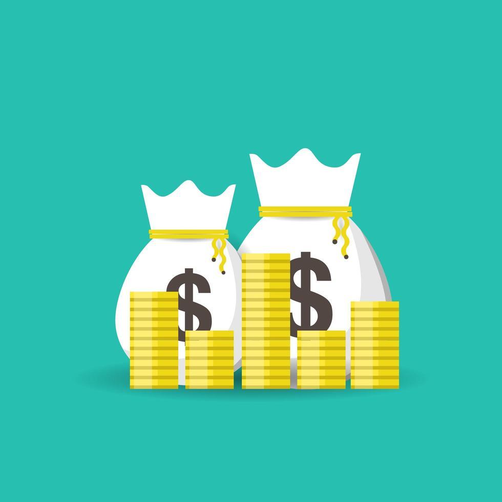 sacs d & # 39; argent avec des pièces pour réussir en affaires vecteur