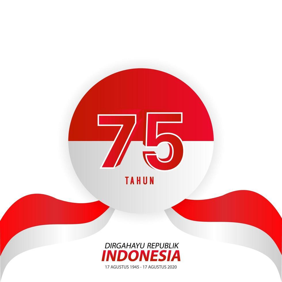 fond de fête de l'indépendance de l'indonésie sur blanc vecteur