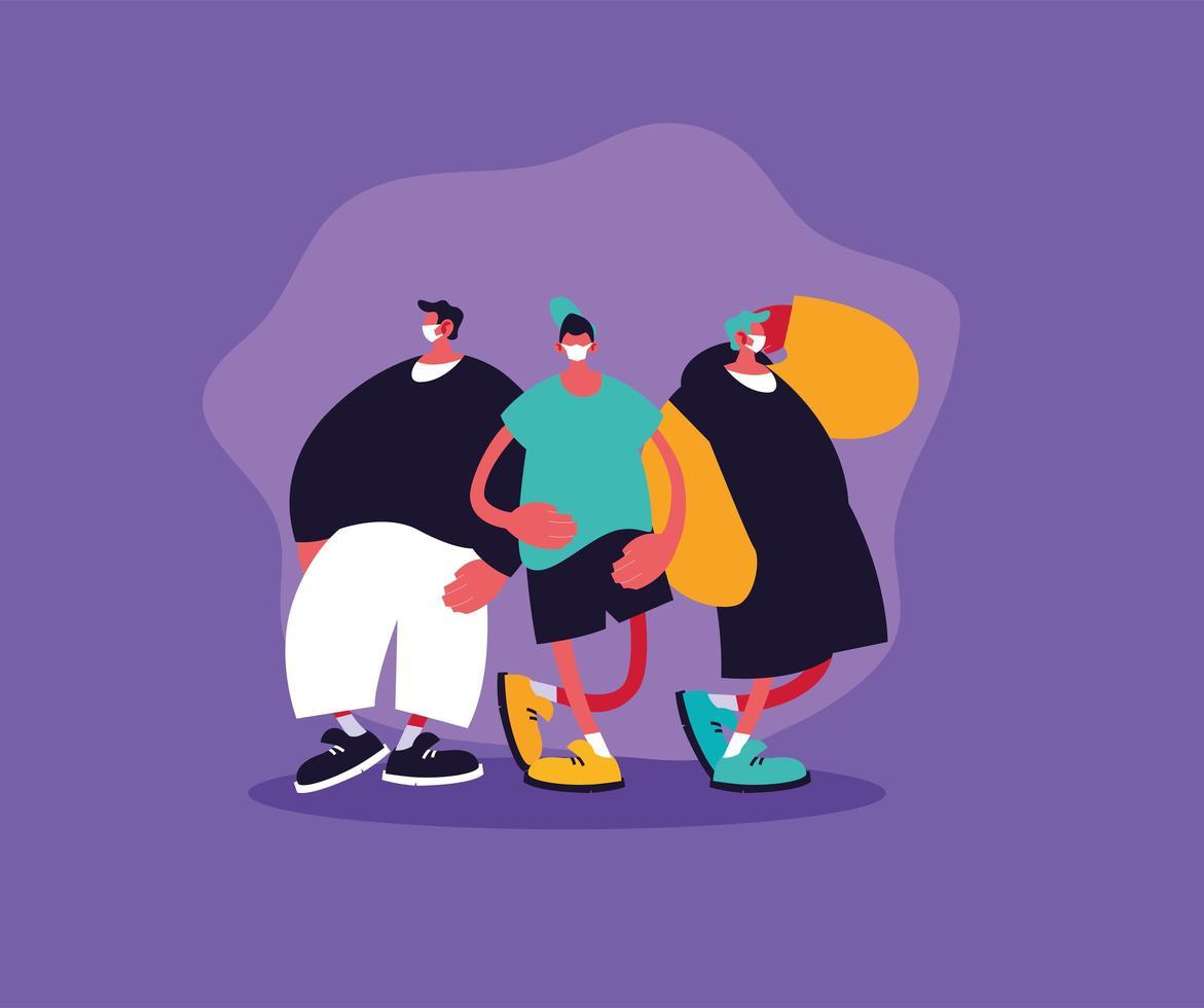Grupo de tres hombres con máscara médica para evitar infecciones. vector